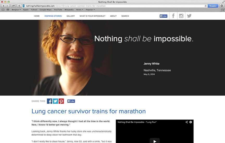 Cancer survivor landing page from Saint Thomas Health traditional and digital healthcare marketing campaign Nashville TN