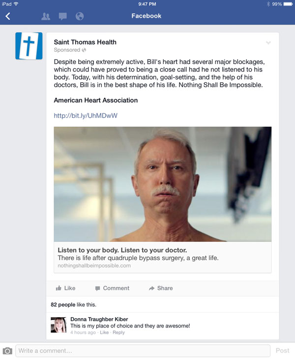 Facebook advertising featuring heart patient from Saint Thomas Health traditional and digital healthcare marketing campaign Nashville TN