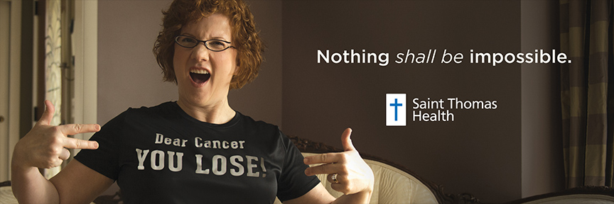 Cancer survivor billboard from Saint Thomas Health traditional and digital healthcare marketing campaign Nashville TN