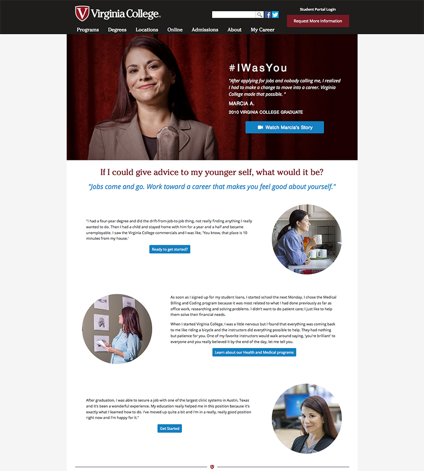 landing page with testimonial from marketing campaign for for-profit college by rich paschall digital marketing Nashville, TN