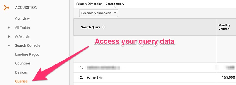 Google Analytics interface showing Google Search Console view