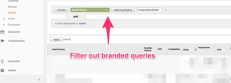 "Google Analytics ""advanced search"" feature"